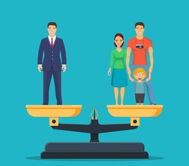 Businessman and happy family with kids on scales. Work and life balance business. Family and career business. Vector illustration in flat style