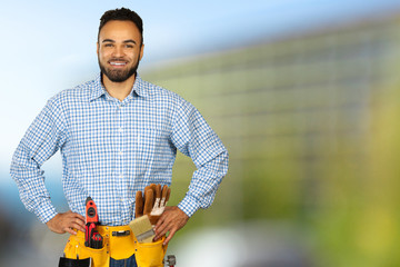 handsome happy workman