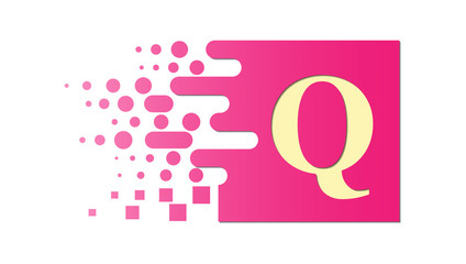 letter Q on a colored square with destroyed blocks
