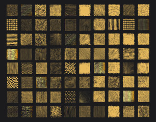 Set of rough gold grunge texture. Doodles set. Scribble collection. Ink sketches. Scrawl elements. Gold foil background. Dirty square ink torn box. Vector illustration. Isolated on black background.