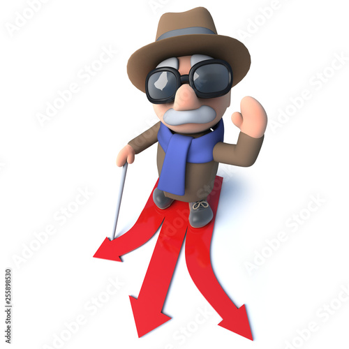 Funny 3d Cartoon Blind Man Character Choosing Which Direction To