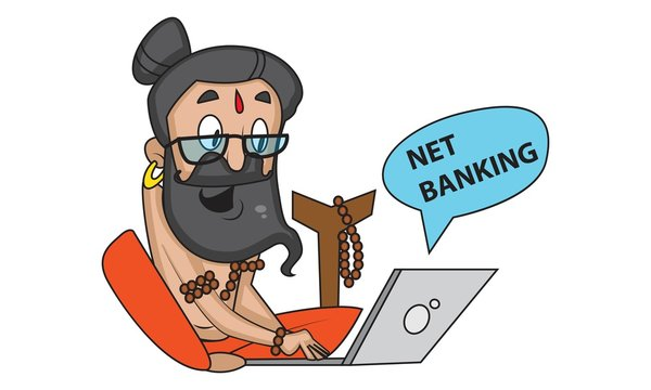 Vector cartoon illustration of cute data baba doing net banking. Isolated on white background.