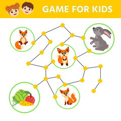 Maze children game. help hare go through the labyrinth and find carrot, cabbage and an Aapple. Kids activity sheet. Children funny riddle entertainment.