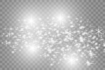 White beautiful light explodes with a transparent explosion. Vector, bright illustration for perfect effect with sparkles