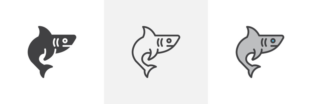 Shark, fish icon. Line, glyph and filled outline colorful version, shark predator animal outline and filled vector sign. Symbol, logo illustration. Different style icons set. Vector graphics