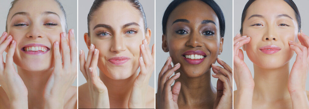Collage of portraits of women of different ethnicities with beautiful faces and perfect skin just cleaned from impurities ready for day or night cream smiling in camera.
