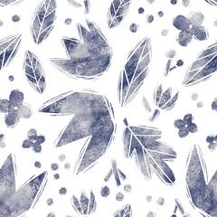 Linocut print seamless pattern