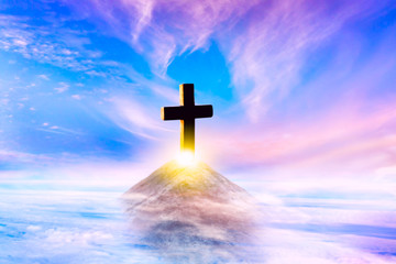 Heavenly Cross . Religion symbol shape .  Dramatic nature background  . Glowing cross in sky . Happy Easter. Light from sky . Religion background .  Paradise heaven . Light in sky .   Wall mural