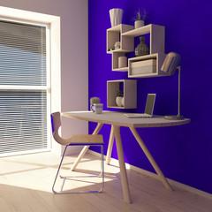 3D Render of a modern home office
