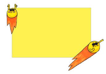 Cute comet card. Drawing marker art.  Cartoon for kids. Art for postcard, print or web