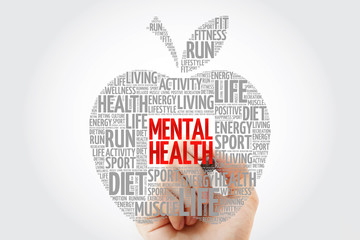 Mental health apple word cloud with marker, health concept