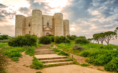 Castel del Monte is a 13th-century castle situated on a hill in Andria in the Apulia region of southeast Italy. UNESCO World Heritage Site. Wall mural