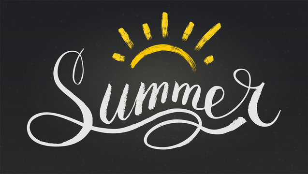 Word Summer in style of calligraphy or doodle. Vector illustration with hand drawn text and sun on black chalkboard. Hand lettering for poster, card, leaflet. Funny design for hipster logo or label