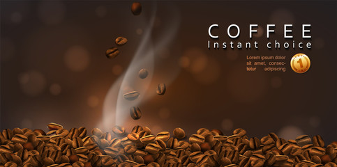 Coffee  advertising design. Coffee beans and rising smoke. The effect of transparency. 3D vector. High detailed realistic illustration
