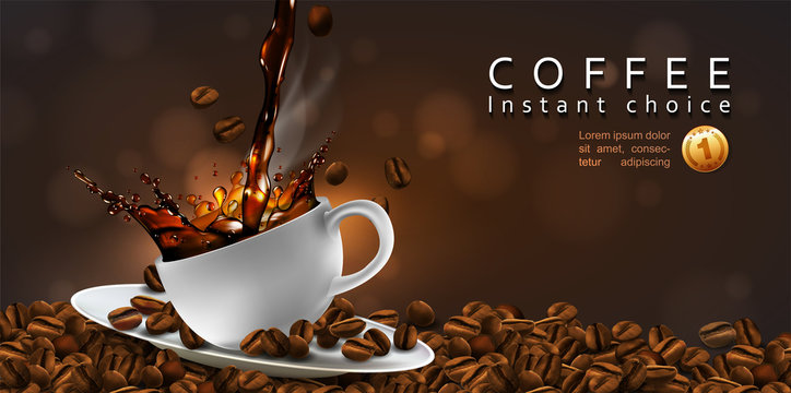 Coffee  advertising design  with coffee beans and a cup of steaming coffee.  Transparency effect. 3D vector. High detailed realistic illustration