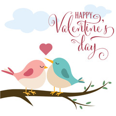 Valentine's day card with cute birds in love