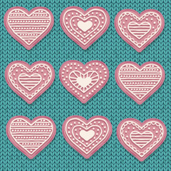 Pink  heart cookies isolated on knitted  background. Love background.