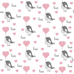 Love seamless pattern with birds and hearts