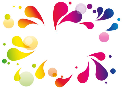 Vector colored splashes and bubbles in abstract shape