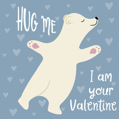 Cute Valentine's day card with polar bear