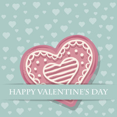 Beautiful love card with pink heart cookie