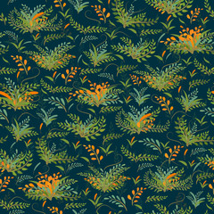 Seamless vector pattern with spring plants and sprigs on a dark blue background