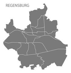 Regensburg city map with boroughs grey illustration silhouette shape