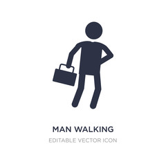 man walking through the wind icon on white background. Simple element illustration from People concept.