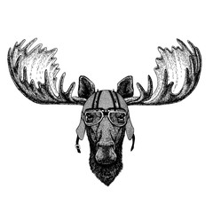Moose, elk wearing a motorcycle, aero helmet. Hand drawn image for tattoo, t-shirt, emblem, badge, logo, patch.