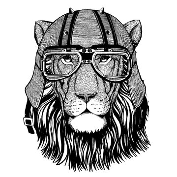 Lion wearing a motorcycle, aero helmet. Hand drawn image for tattoo, t-shirt, emblem, badge, logo, patch.