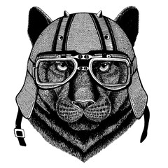 Puma, panther, leopard, jaguar wearing a motorcycle, aero helmet. Hand drawn image for tattoo, t-shirt, emblem, badge, logo, patch.