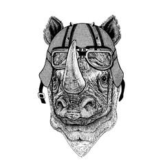 Rhinoceros, rhino wearing a motorcycle, aero helmet. Hand drawn image for tattoo, t-shirt, emblem, badge, logo, patch