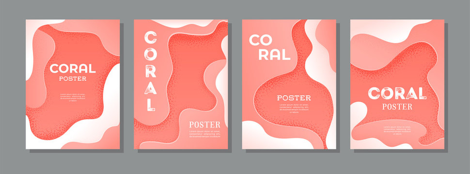 Set of vector posters in living coral colors. Brochure template.