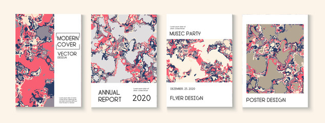 Fluid Paint, Clay Texture Vector Cover Layout. Trendy Magazine, Music Poster Template. Modern Earth Day Ecology Poster