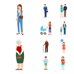 Vector design of family  and people logo. Set of family  and avatar  stock vector illustration.