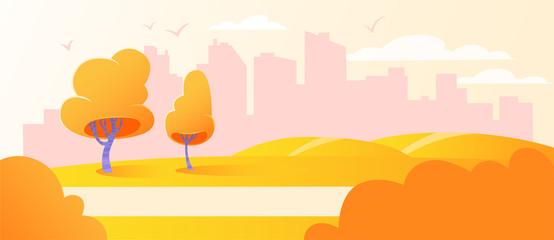 Urban cityscape park landscape background. City outdoor horizon scenery recreation. Autumn abstract background, road, flat, cartoon, vector illustration. Town nature tree scene.
