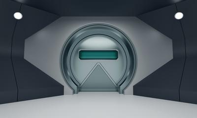Futuristic round metallic heavy door