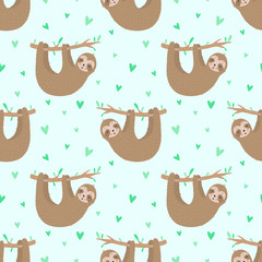 Seamless pattern of cute slow sloths and hearts. Hand-drawn illustration of sloth for children, tropical summer, textile, print, cover, wallpaper, fabric, clothes. Transparent background