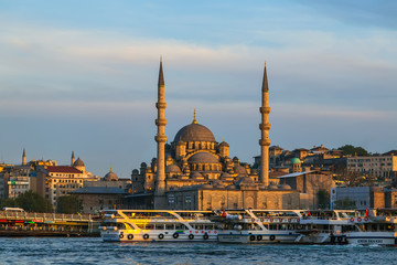 Panoramic Golden Horn anchored ferryboat Istanbul, Turkey