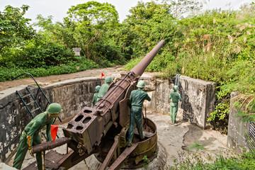 Soldier Indochina War Cannon Fort, Cat Ba, Vietnam Artillery gun
