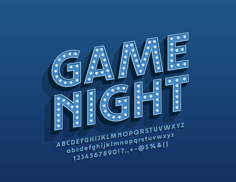 Vector entertainment poster Game Night with glowing Alphabet Letters. Electric lamp Font