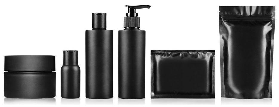 Big set of black personal hygiene products, isolated on white background