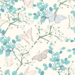 seamless pattern with butterflies and white flowers