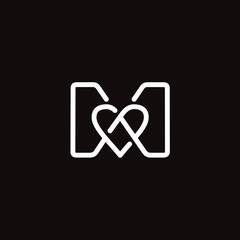 Initial / Letter M with Heart Love logo design inspiration