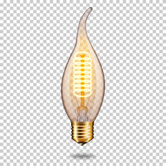 Wall Mural - Realistic transparent glowing vintage light bulb, isolated.