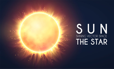 Sun in Universe. Shining Star Cosmos Design. Supernova. Science Background. Wall mural
