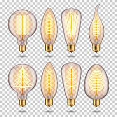 Wall Mural - Set of Realistic transparent glowing vintage light bulb, isolated.