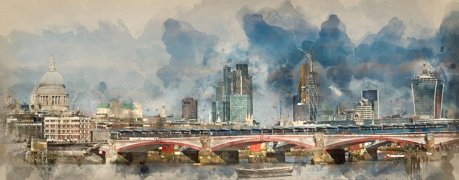 Watercolour painting of Panorama of London skyline showing modern, traditional and construction in the city.