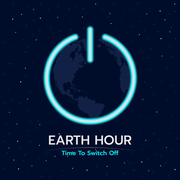 Earth hour time to switch off banner with earth in shutdown sign on space background vector design