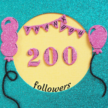 Thanks 200 subscribers with balloons and flags. Concept thanks to friends on social networks..